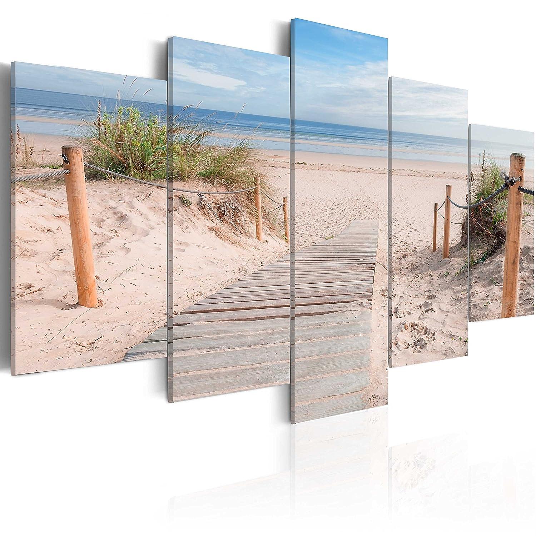 BD XXL murando - Impression sur Toile - 100x50 cm - 5 Pieces - Image sur Toile - Images - Photo - Tableau - Motif Moderne - Décoration - tendu sur Chassis - Paysage naturee Plage c-B-0006-b-n