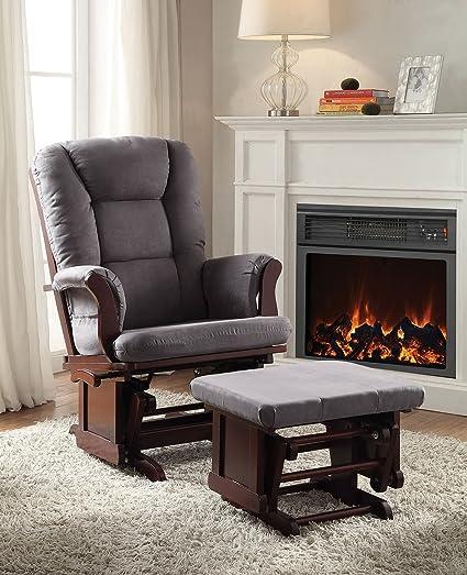ACME Furniture 59338 2 Piece Aeron Glider Chair U0026 Ottoman, Gray U0026 Cherry