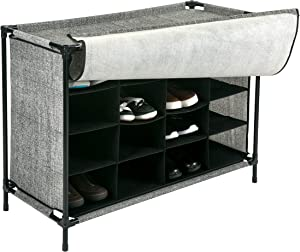 Simplify 16 Pair Stackable Shoe Rack Organizer with Cover for Closet Bedroom & Entryway Black