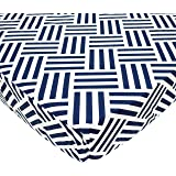 American Baby Company 100% Cotton Percale Fitted Crib Sheet, Navy Parquet
