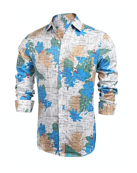 1db119077a1 JINIDU Men s Long Sleeve Tropical Floral Print Hawaiian Aloha Shirt Casual  Button Down Shirts White
