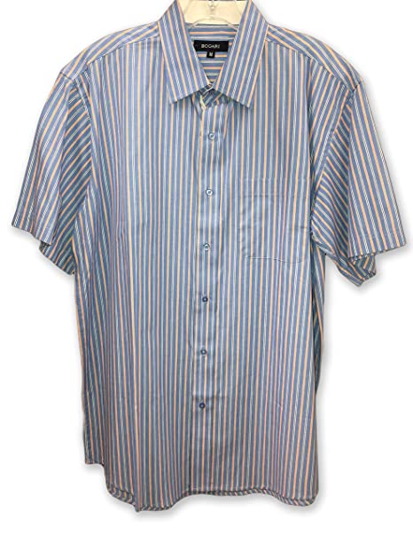 Bogari Men/'s Button Down Dress Shirt Long Sleeve Striped