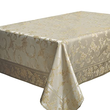 Harmony Scroll Tablecloth (60u0026quot; X 120u0026quot; Rectangular, Silver   Gold)
