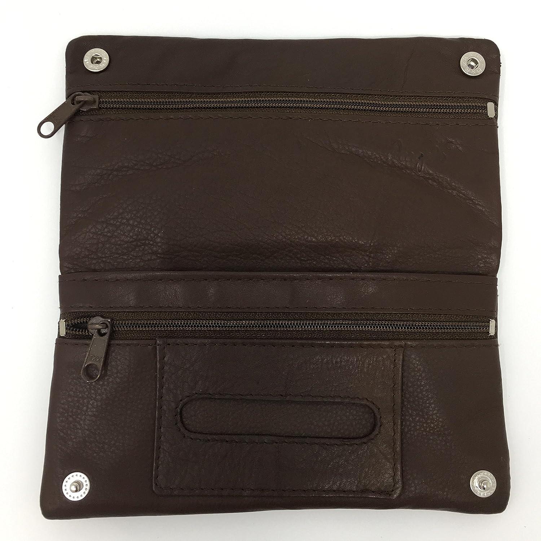 Angelo Ryo Tabak Tasche aus echtem weichem Leder (Dunkelbraun)