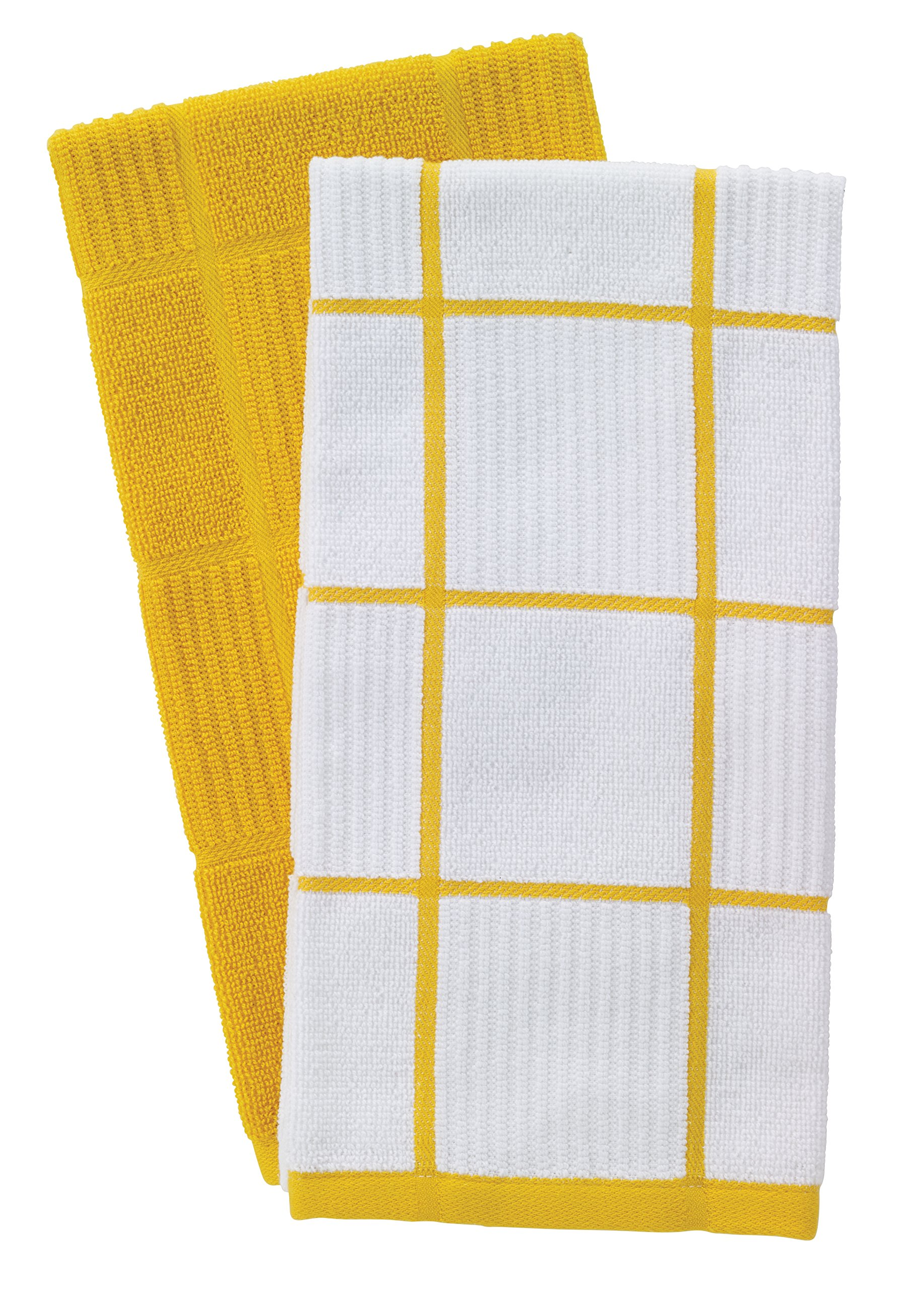 T-Fal Textiles Woven Solid & Checked Parquet Design, Highly Absorbent 100% Cotton Kitchen Dish Towel, 16-inch by 26-inch, Set of 2, Lemon