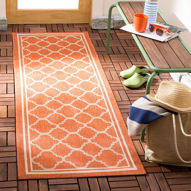 Amazon Com Safavieh Courtyard Collection Cy6918 Trellis Indoor Outdoor Runner 2 3 X 6 7 Terracotta Bone Furniture Decor