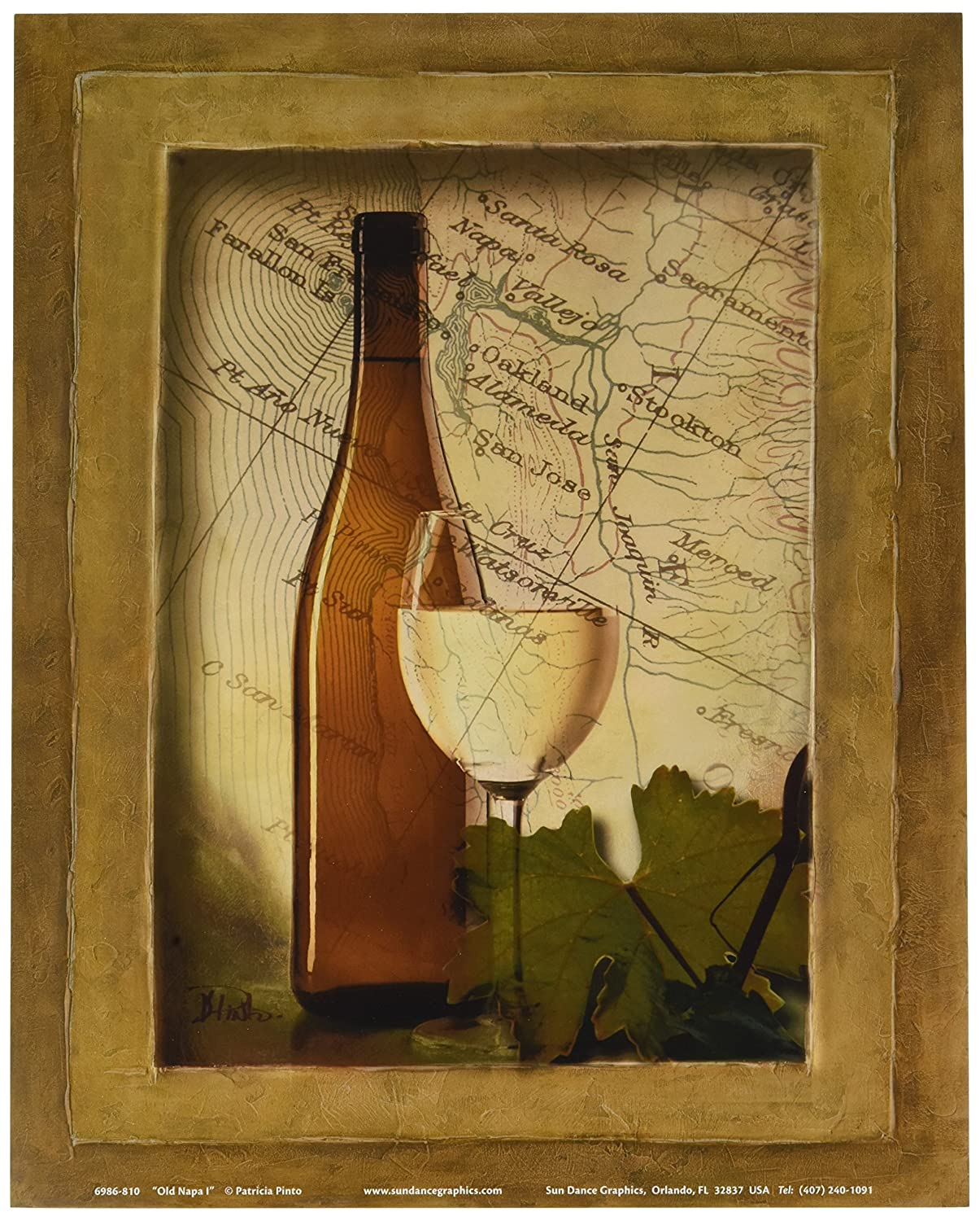 Amazon.com: White Grapes Wine Glass and Bottle Kitchen Tuscan Wall ...