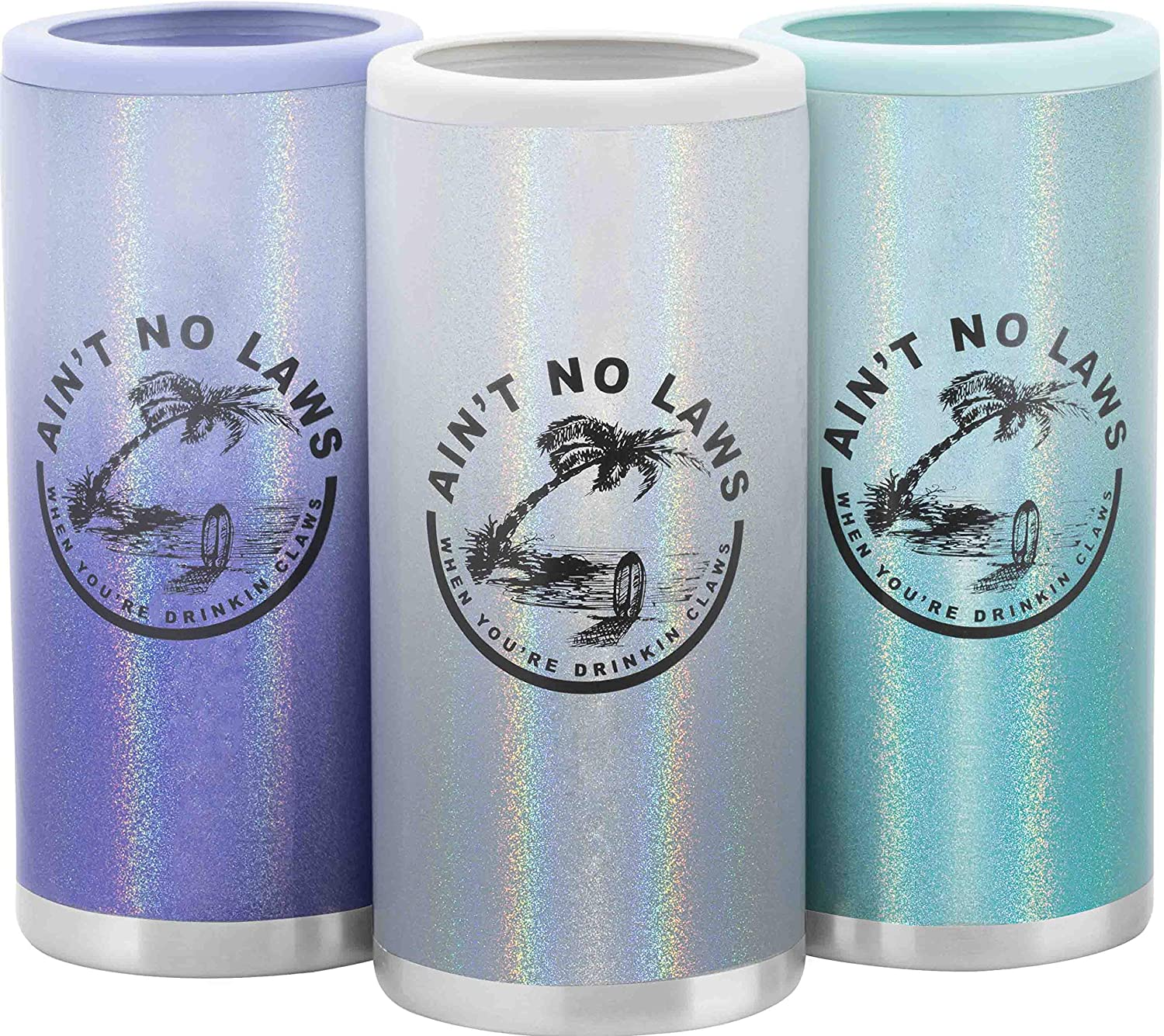 12oz Slim 18/8 Stainless Steel Can Cooler ~Ain't No Laws-When You're Drinking Claws~ Skinny Double Wall Vacuum Insulated Drink Holder By F-32 Signature Collection (12 Oz, White Gradient)