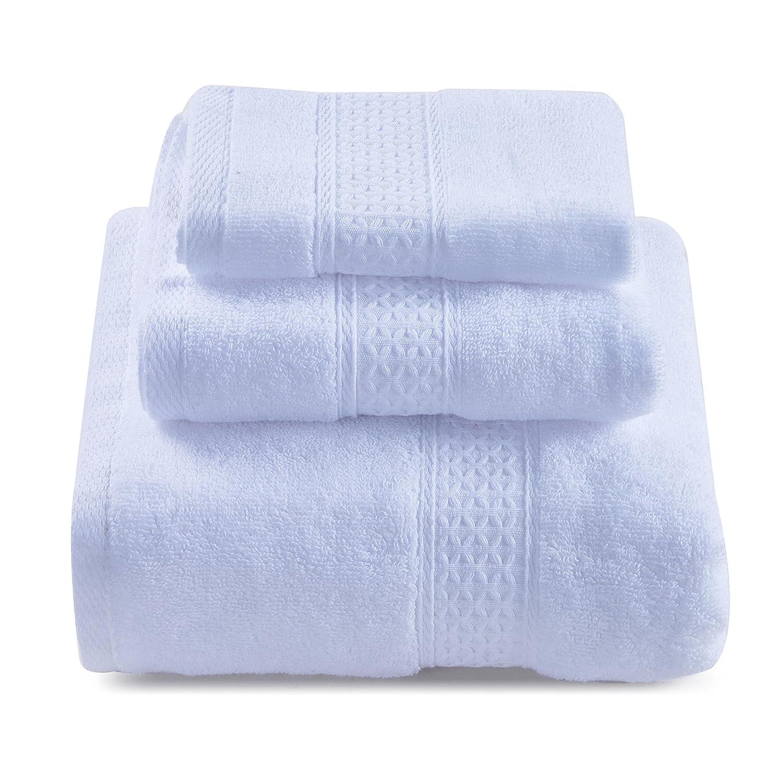 Color Sólido Juego de 3 Toallas de Baño 100% Algodón Absorbencia Rápida 1 Toalla de Baño 1 Toalla de Mano 1 Toalla de Cara Blanco: Amazon.es: Hogar