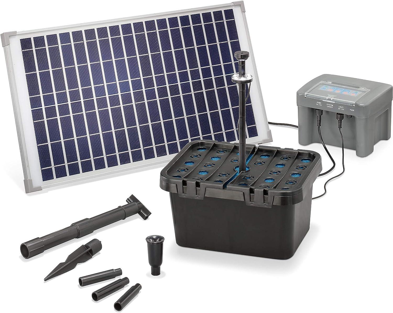 esotec 101064 650 l//h F/örderleistung 25 Watt Solarmodul neuester 12 V//12 Ah proBatt Akkuspeicher mit LED Licht Gartenteich Filter Komplettset Solar Teichfilter Set Profi bis 2.000 l Teich