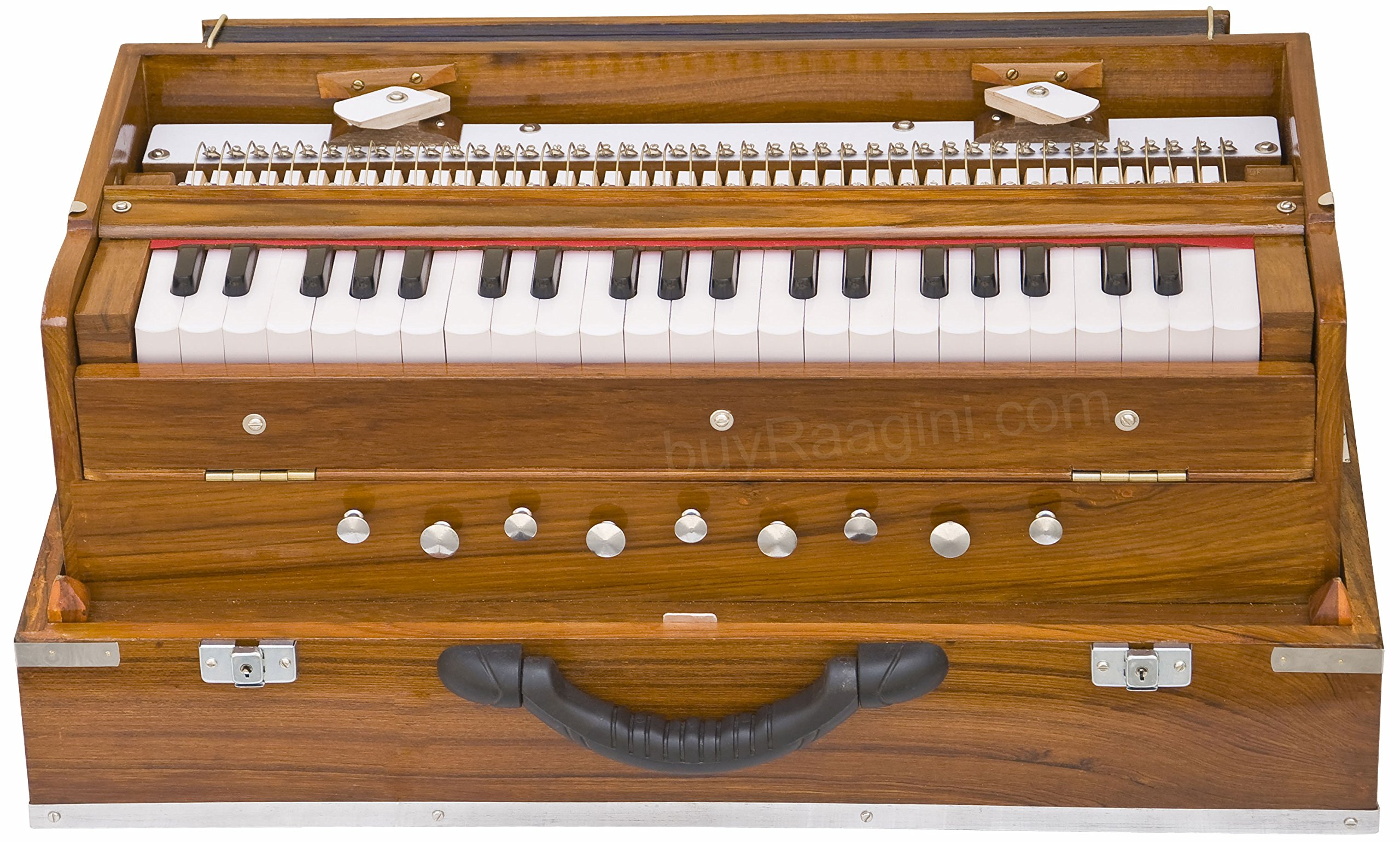 Monoj K Sardar MKS, Harmonium, In USA, Concert Quality, Folding, Special Double Reed, Natural Color, 9 Stop, 3 1/2 Octaves, Padded Bag, Book, Musical Instrument Indian (PDI-AFG) by MKS