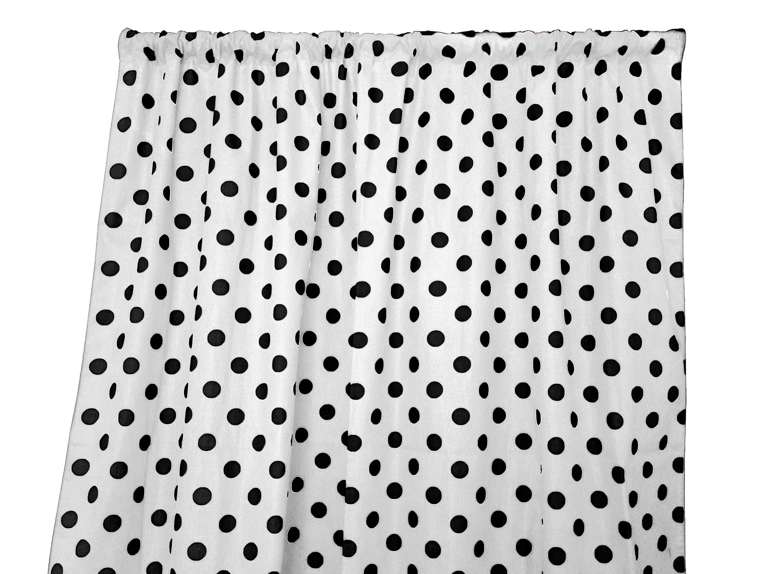 Zen Creative Designs Polka Dots on White Cotton Curtain Panel Perfect for Bed Room Window, Children's Room Window, Living Room Window Decor (Black Dots, 72'' Tall x 58'' Wide) by Zen Creative Designs