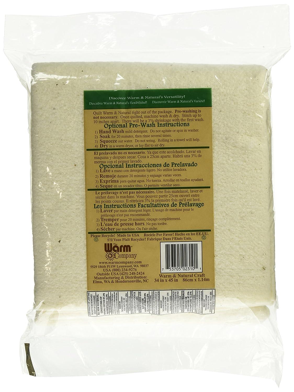 Warm /& Natural Cotton Batting-Craft Size 34X45