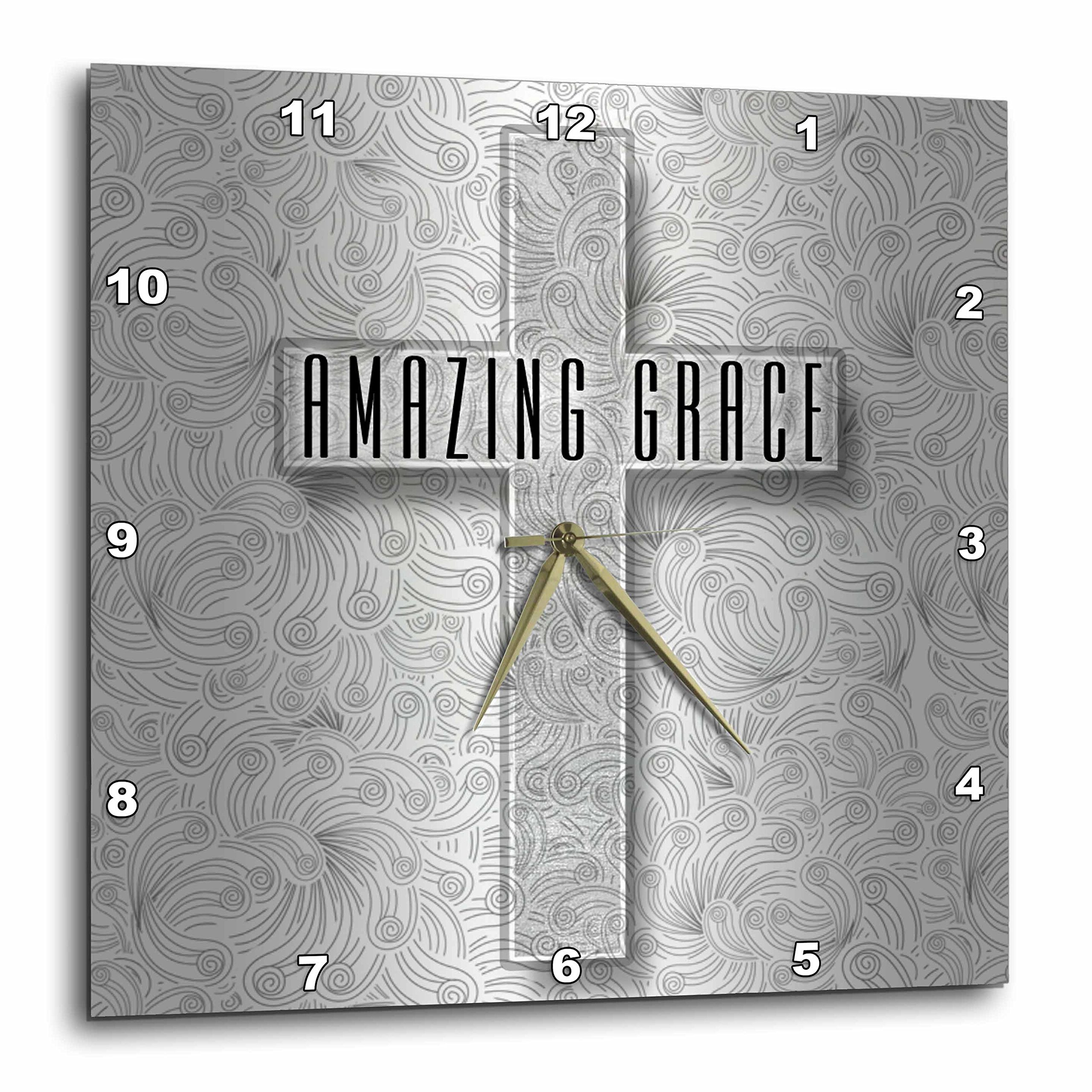 3dRose Amazing Grace Silver Christian Cross with Swirls Elegant and Simple Wall Clock, 15 x 15