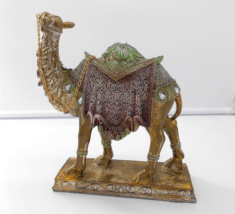 Home Decorative Bronze Green /& light burgundy resin Camel Figurine