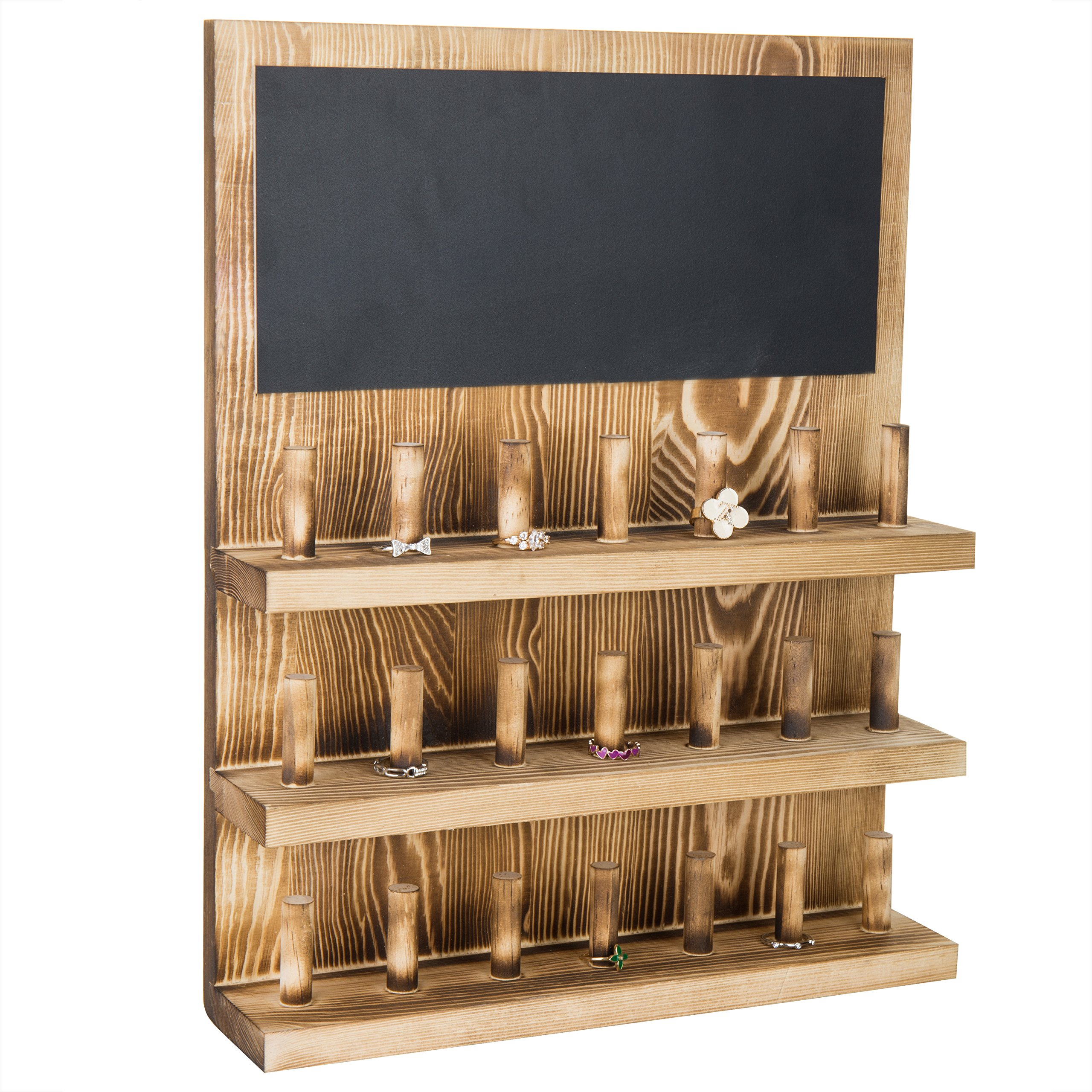 MyGift 3-Tier Wall-Mounted Wood Ring Display Rack with Chalkboard by MyGift (Image #1)