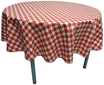 Phoenix Cafe Check Vinyl Tablecloth, 52 Inch Inch Round Cut, Red And White