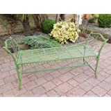 Antique GREEN Wrought Iron Garden Bench Stool ~ Vintage Style