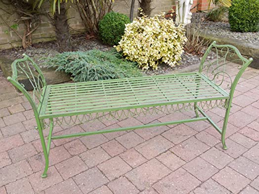 Antique GREEN Wrought Iron Garden Bench Stool ~ Vintage Style