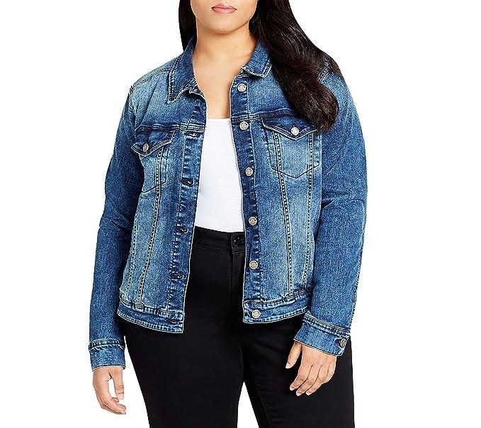a447681bc61f William Rast Plus Size Acid Wash Detail Denim Jacket 2X at Amazon Women s  Coats Shop