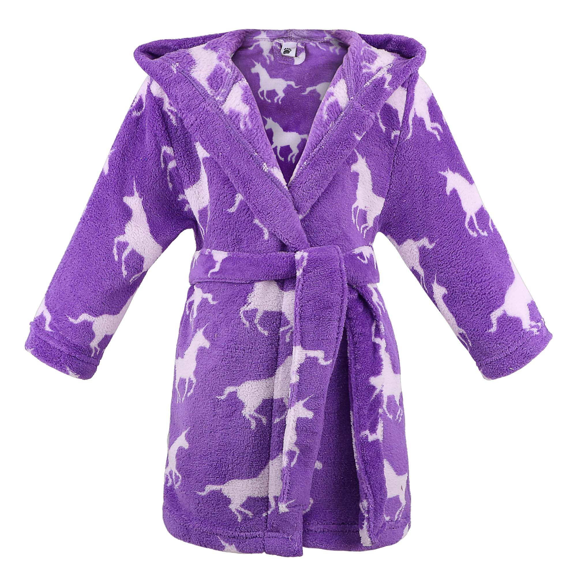 Children Hooded Flannel Fleece Bathrobe Girls Robe w/Side Pockets,Unicorns,XL