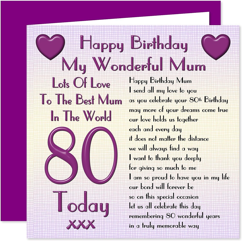 Carte Joyeux Anniversaire 80 Ans Maman Beaucoup D Amour Pour La Meilleure Maman Dans Le Monde 80 Aujourd Hui Amazon Fr Fournitures De Bureau