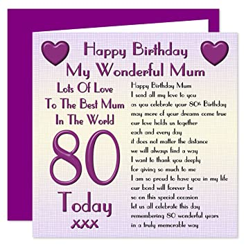 Mum 80th Happy Birthday Card Lots Of Love To The Best Mum In The