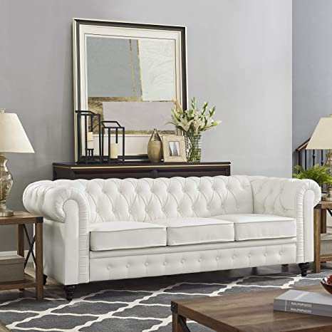 Naomi Home Emery Chesterfield Sofa White