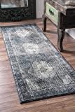 """Traditional Vintage Inspired Overdyed Fancy Blue Runner Area Rugs, 2 Feet 8 Inches by 7 Feet 11 Inches (2' 8"""" x 7' 11"""")"""