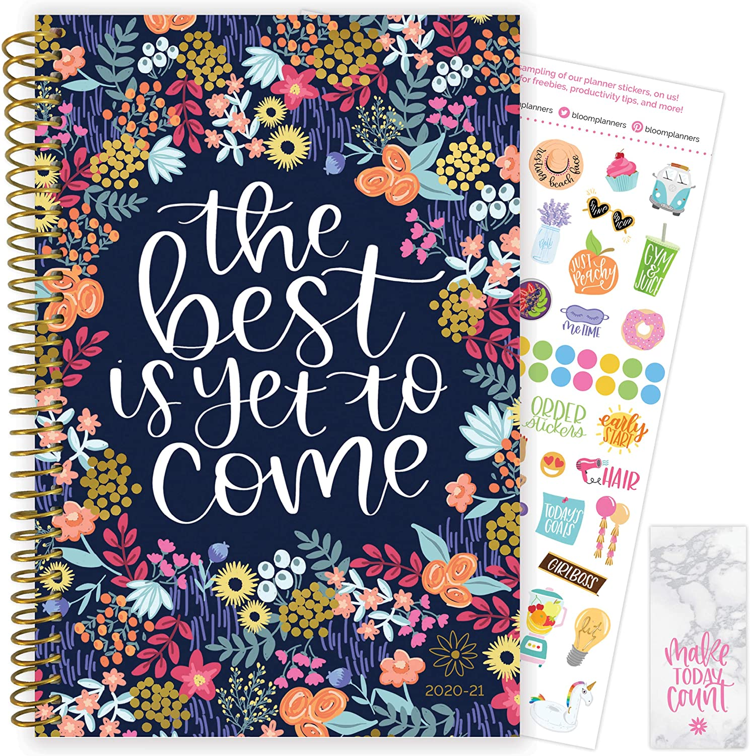 """bloom daily planners 2020-2021 Academic Year Day Planner & Calendar (July 2020 - July 2021) - 6"""" x 8.25"""" - Weekly/Monthly Agenda Organizer with Stickers and Bookmark - The Best is Yet to Come"""