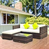 Outsuuny 5PC Rattan Furniture Set Garden Outdoor Sectional Sofa Coffee Table Combo Patio Furniture Metal Frame w/Cushion Pillows