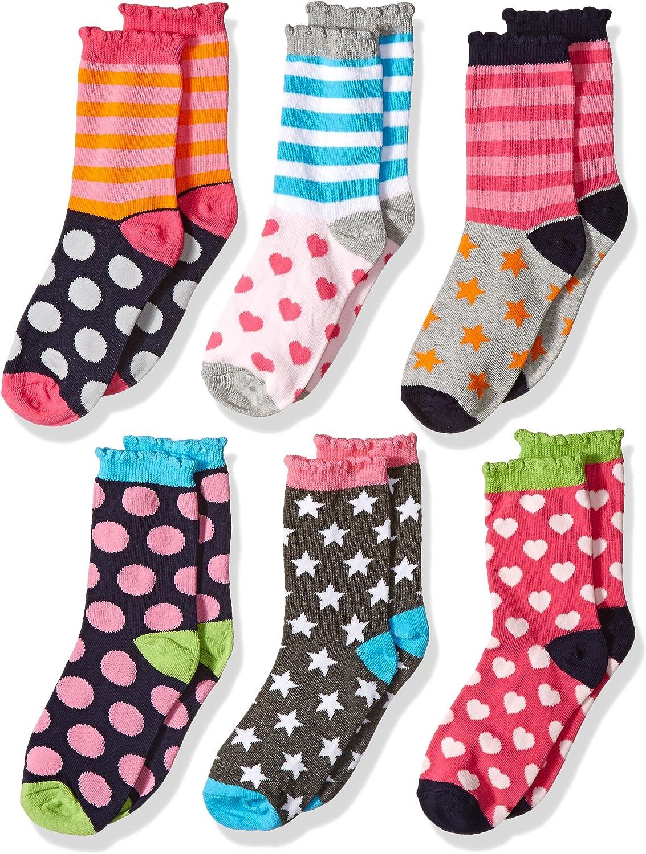 Jefferies Socks Girls' Little Girls' Dots/Hearts/Stripes Fashion Crew socks 6 Pairs Pack: Clothing
