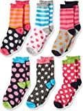 Jefferies Socks Little Girls Dots/Hearts/Stripes Fashion Crew Socks 6 Pairs Pack