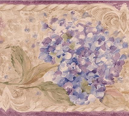 Purple Pink Flowers On Vine Beige Rustic Wallpaper Border