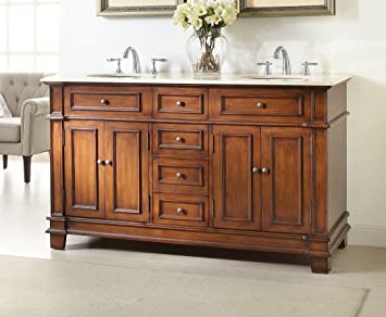 60u0026quot; Benton Collection Double Sink Sanford Bathroom Sink Vanity Cabinet  Model ...
