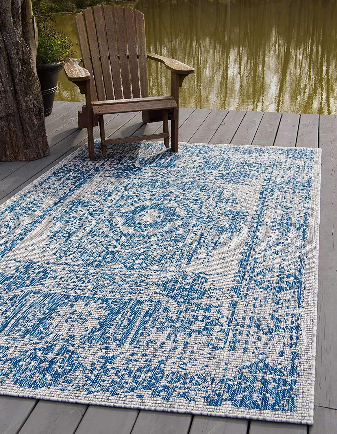 Unique Loom Traditional Distressed Vintage Medallion Transitional Indoor and Outdoor Flatweave Runner Rug_OTD002, 8 Feet x 11 Feet 4 Inch, Blue/Ivory
