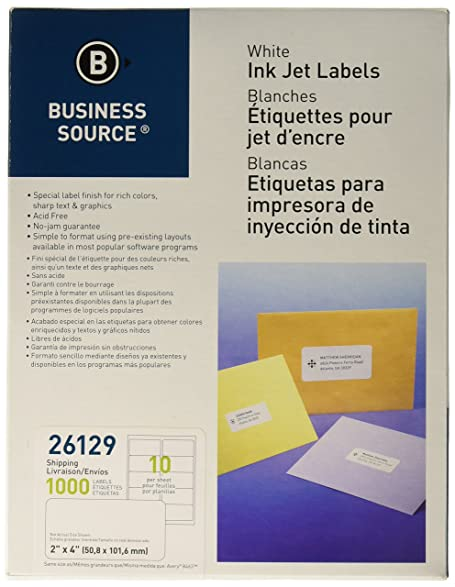 amazon com business source white inkjet mailing labels pack of