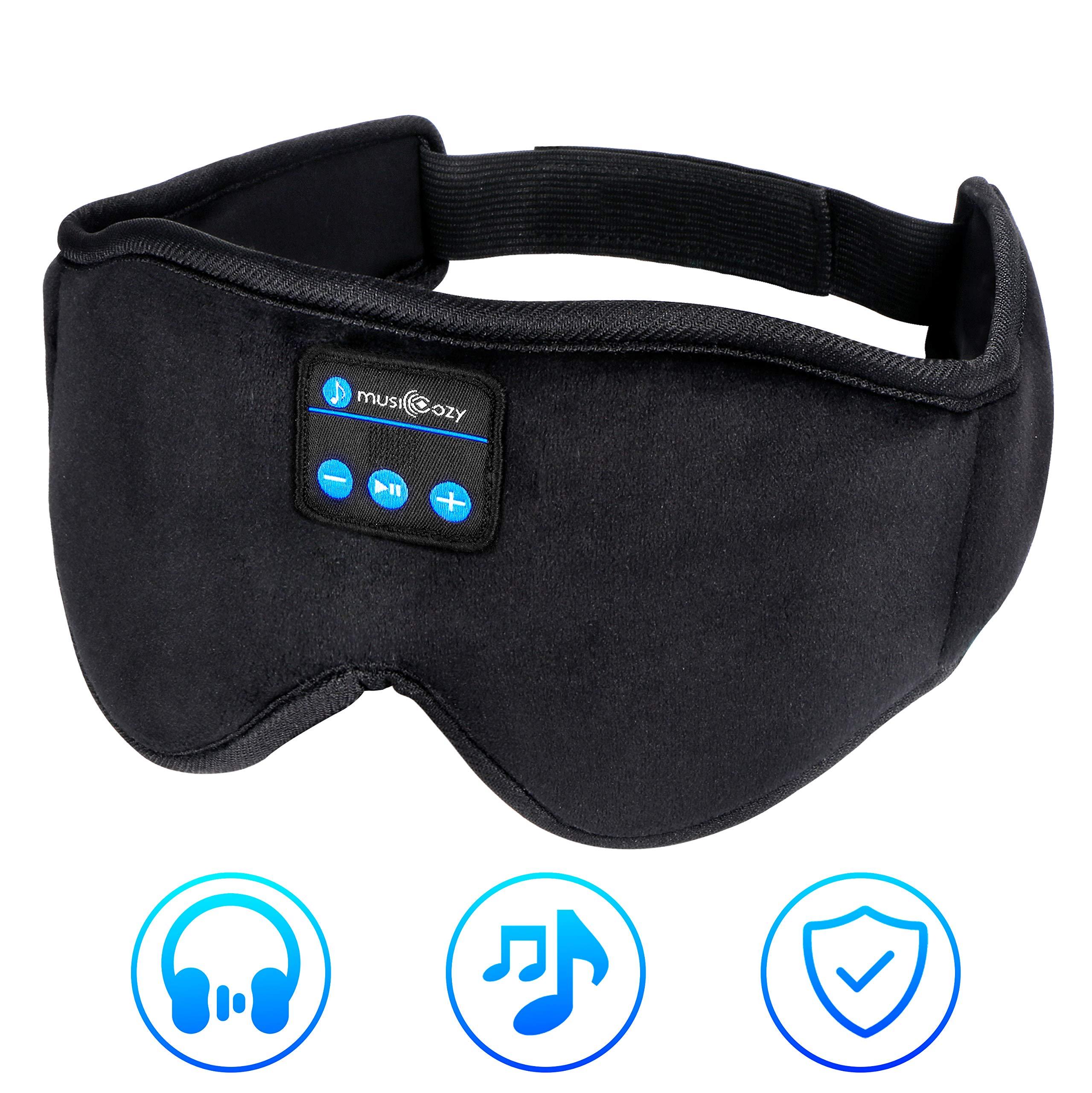 Sleep Headphones,Bluetooth Sleeping Headphones Wireless Eye Mask 2019 Upgraded Music Travel Sleep Headset Build in Microphone Washable for Side Sleepers