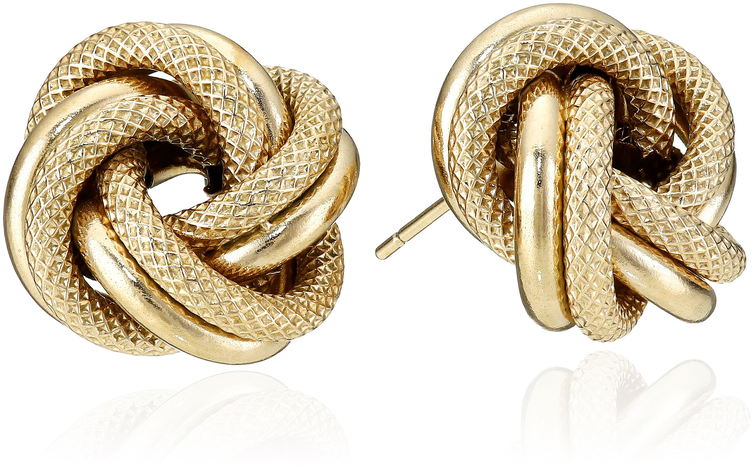 14k Yellow Gold Italian Love Knot Stud Earrings