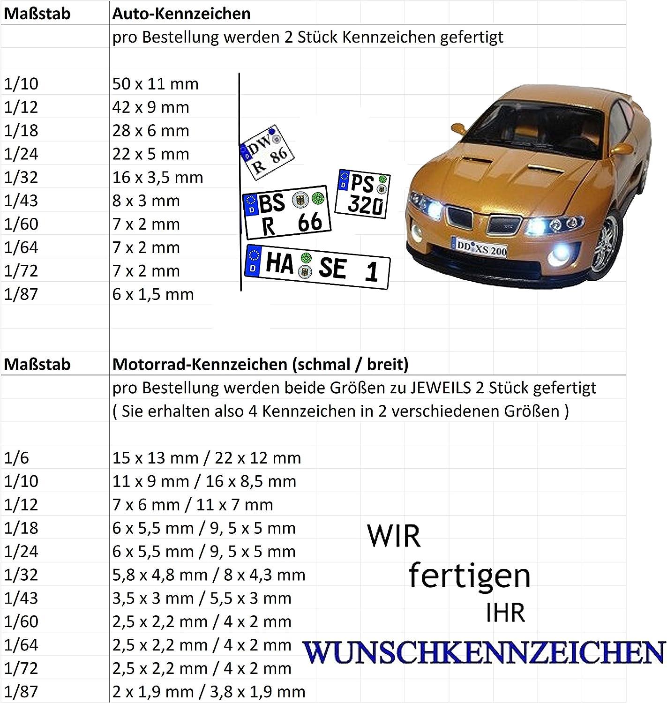 Wunschkennzeichen Kennzeichen Auch Motorrad Nummernschild Wuns.. Alles m/öglich 1//6-1//10-1//12-1//18-1//24-1//32-1//43-1//60-1//64-1//72-1//87