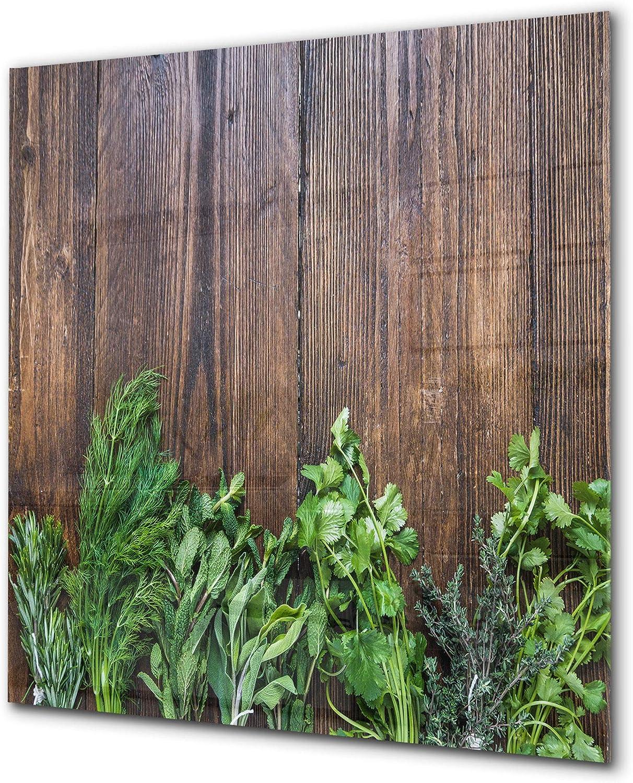 Elégant antiprojections verre sécurité - Antiprojections cuisine verre - Fond de paroi BS01 Série herbes: Herbes de bois