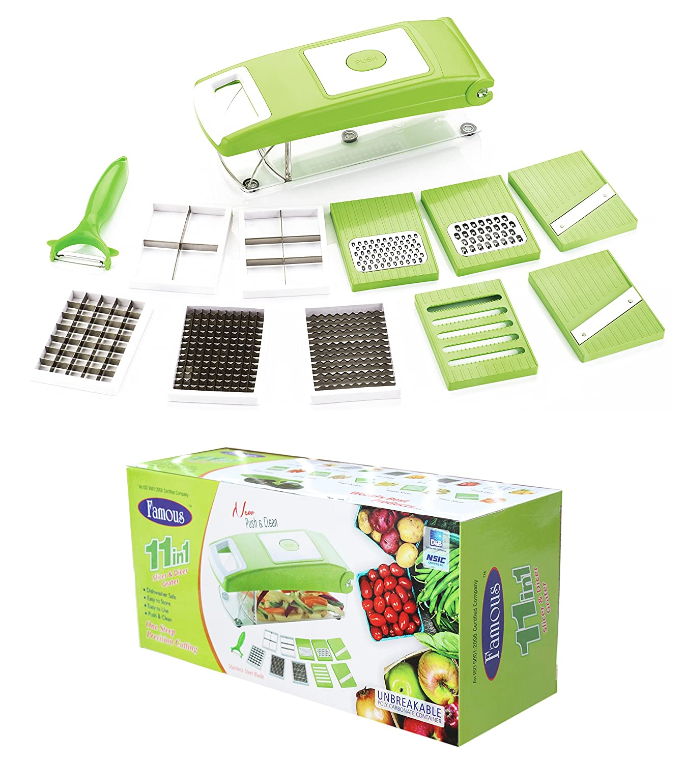 Amazon.com: Famous 11 In 1 Vegetable Fruits Cutter Slicer Dicer ...