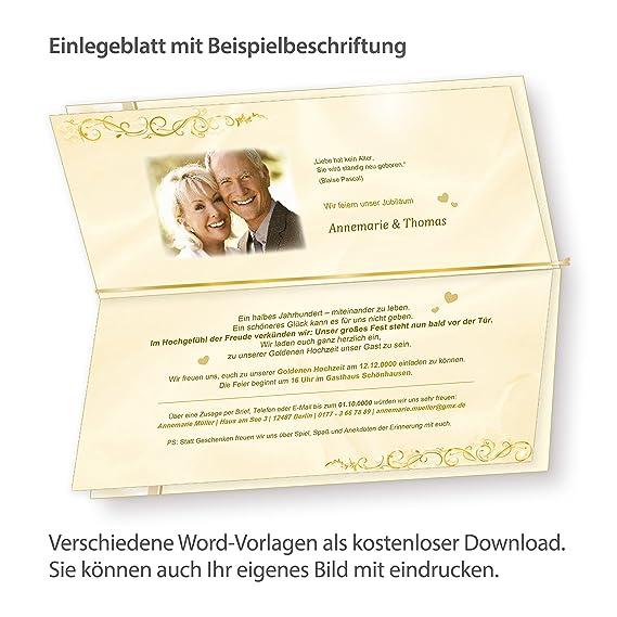 Einladungskarten Goldene Hochzeit (20 Sets) Hinreissend   Fein Abgestimmte  Einladungskarten. Set Mit 20 Karten, 20 Umschläge, 20 Einlegeblätter Zum ...