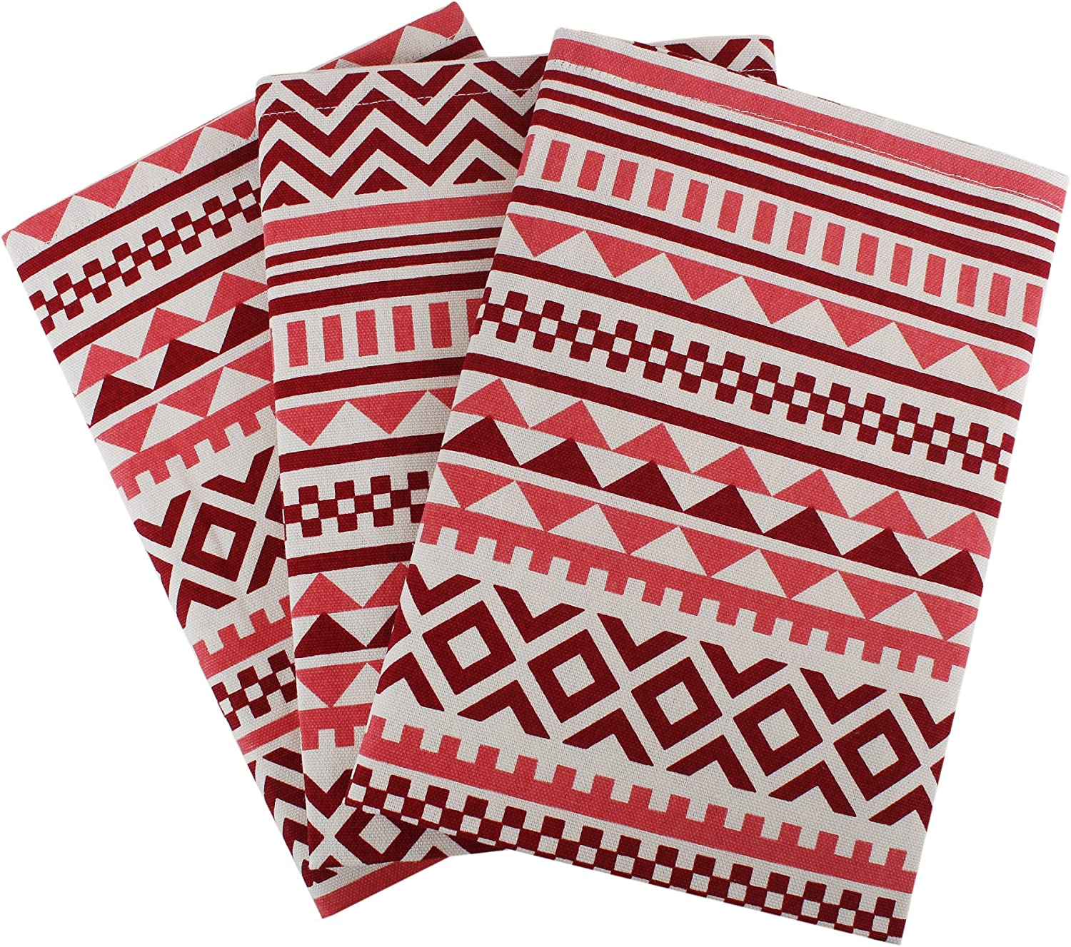 """Set of 3 Kitchen Towels, 100% Cotton of size 18""""X28 Inch, Eco - Friendly & Safe, Aztec Design for Kitchen"""