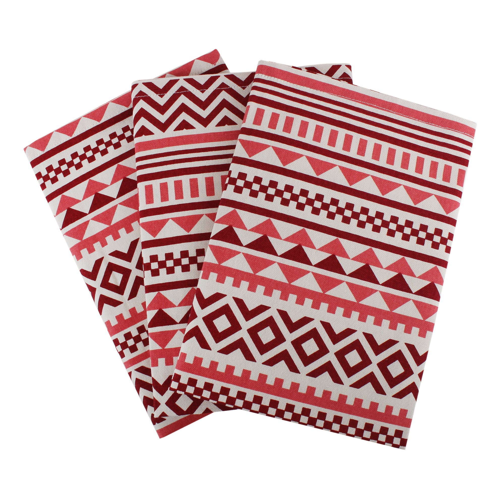 Set of 3 Kitchen Towels, 100% Cotton of size 18''X28 Inch, Eco - Friendly & Safe, Aztec Design for Kitchen