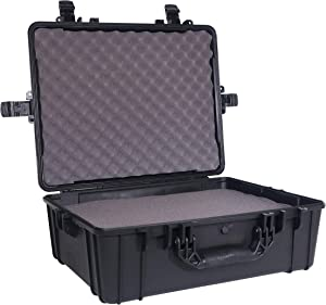 "Condition 1 22"" XL Waterproof Protective Hard Case with Foam, Black - 22"" x 17"" x 7"" #839 IP67 Watertight Dust Proof and Shock Proof TSA Approved Portable Trunk Carrier"