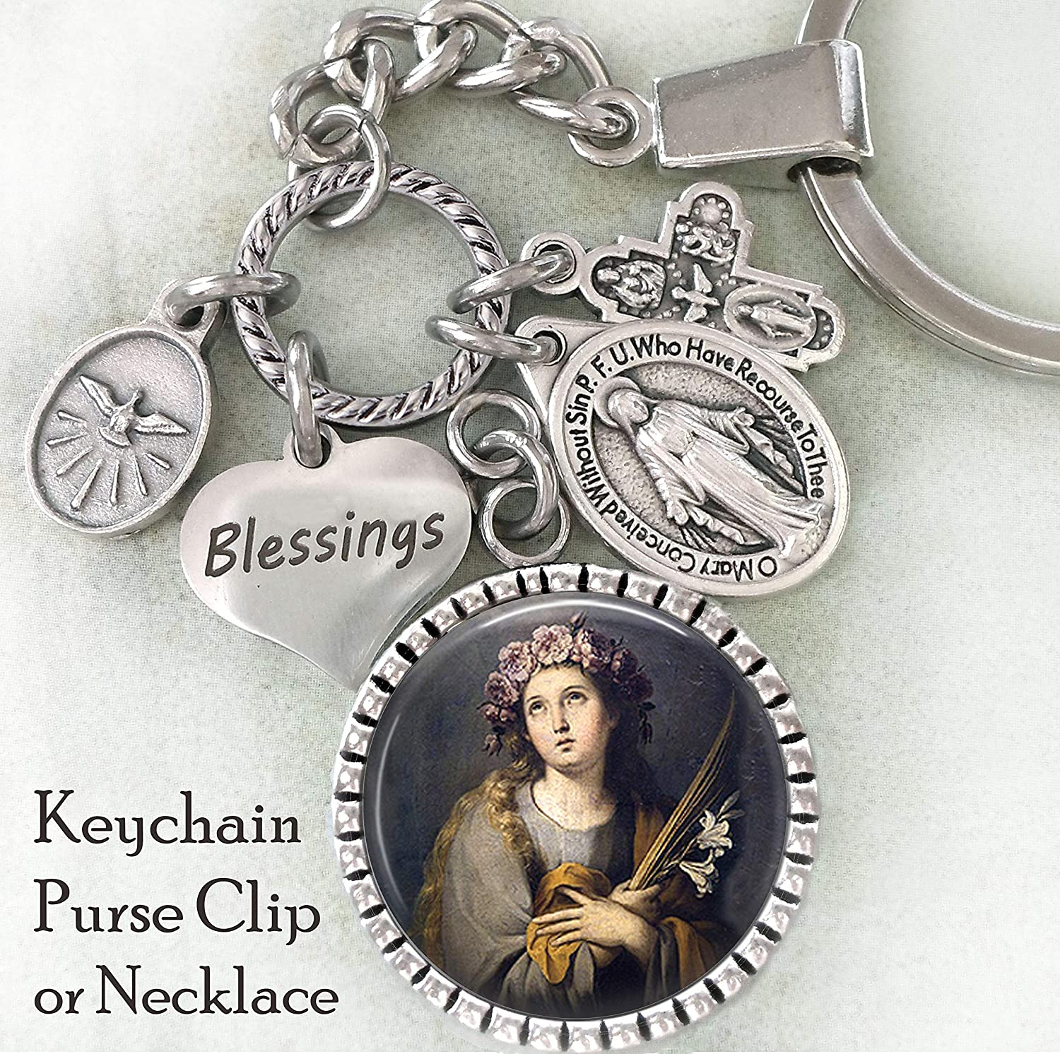 99217cf6d88 Amazon.com: St. Rosalia of Palermo Keychain, Purse Clip, Backpack Clip or  Necklace, Patron Saint, Catholic Confirmation Gift: Handmade