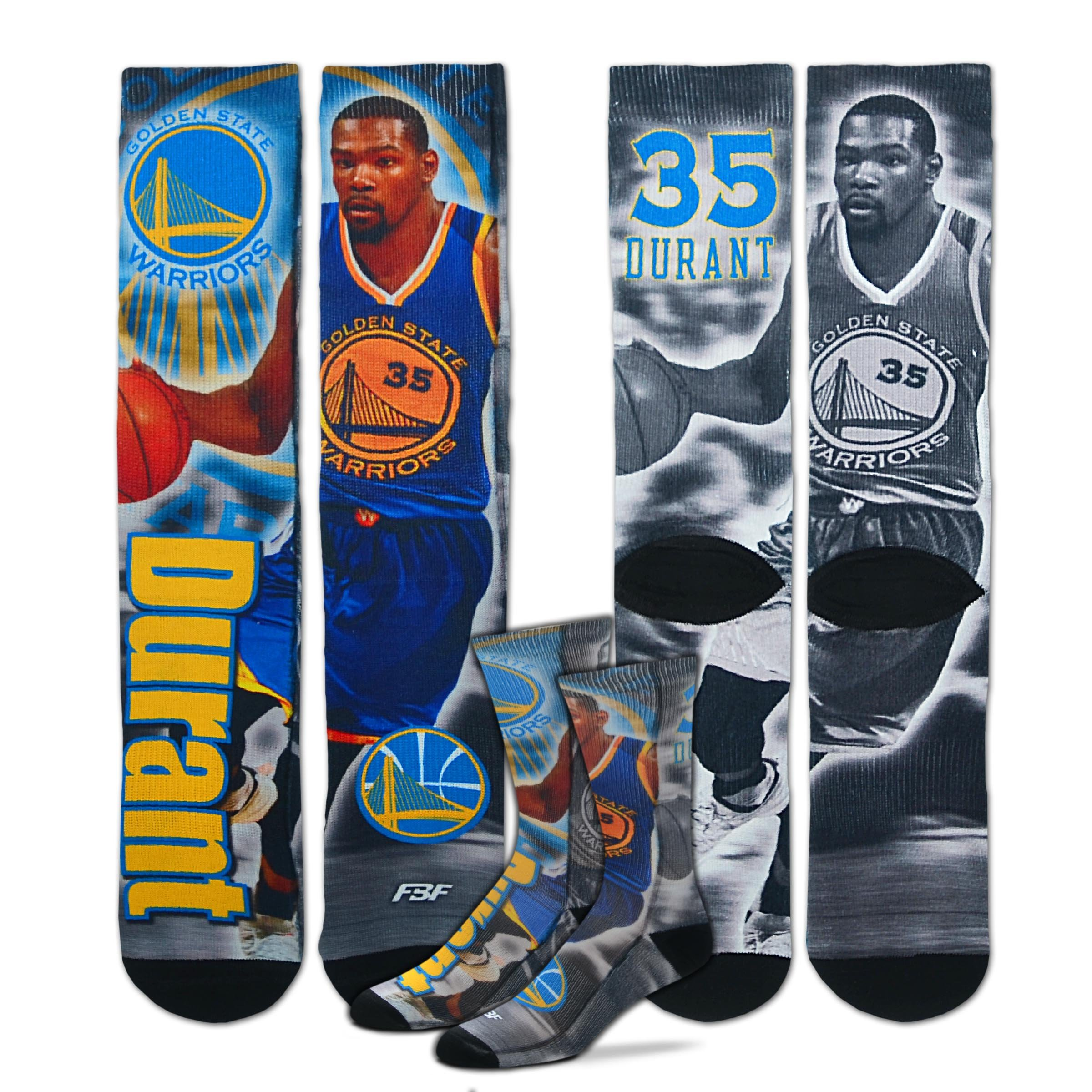 Golden State Warriors Youth Size NBA Drive Kids Socks (4-8 YRS) 1 Pair - Kevin Durant #35 by For Bare Feet