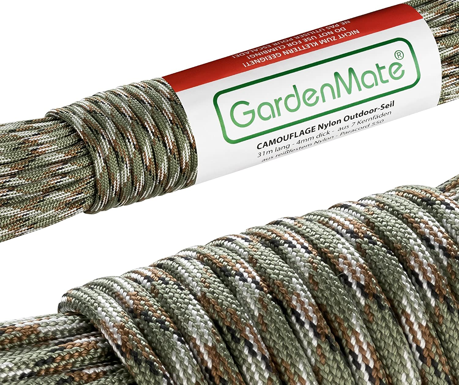 Tear-Resistant Kernmantle Rope with 7 Core Strands Paracord 550 4mm Thick GardenMate Professional Nylon Outdoor Rope 31m Long