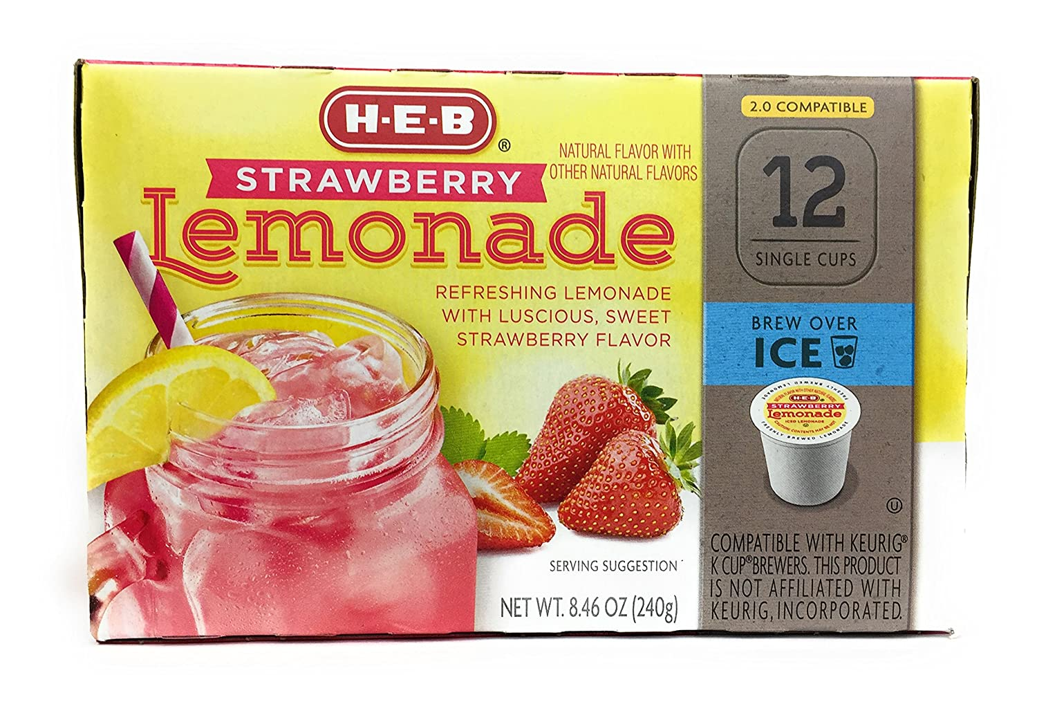 HEB Brew Over Ice, Strawberry Lemonade Single Serve Cups compatible with Keurig 2.0, 12 cts